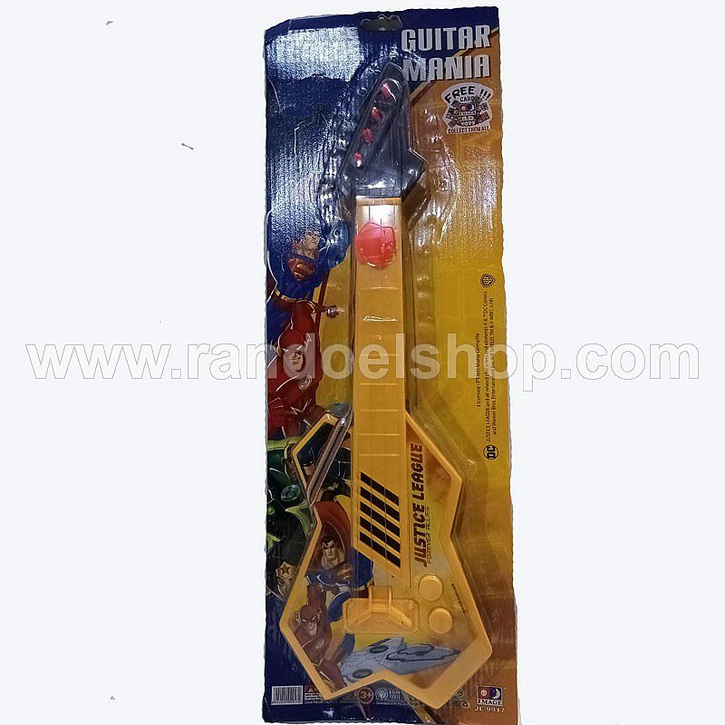 MAINAN GITAR JUSTICE LEAGUE UNLIMITED FREE CARD METAL GUITAR DESIGN TOYS