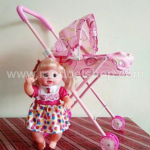 MAINAN PRETEND PLAY LOVELY BABY DOLL STROLLER MAINAN BONEKA ANAK